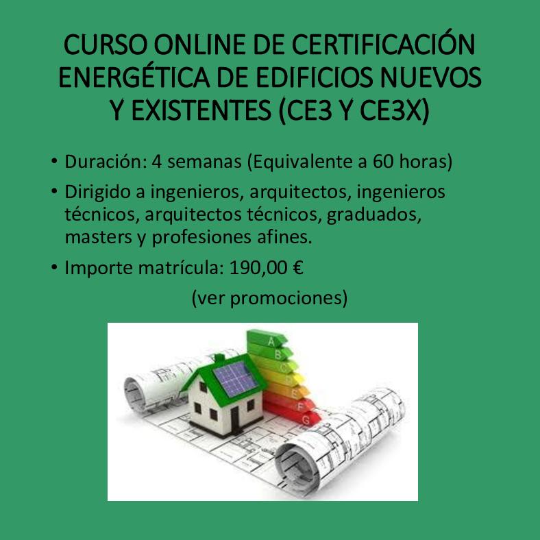 Curso online de Certificación energética de edificios CE3 y CE3X
