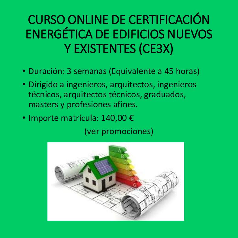 Curso online de certificación energética de edificios CE3X