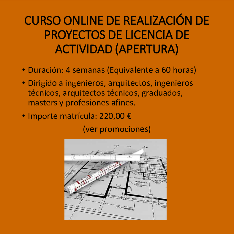 Curso online de realización de proyectos de licencia de actividad